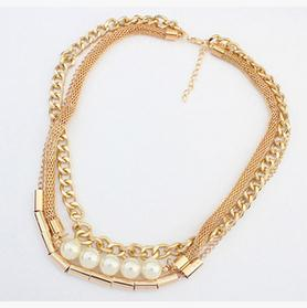 Jewelry Fashion Spring New 2015 Gold Plated Pearl Statement Necklace Chokers Necklaces Pendants Collar Wholesale Nice