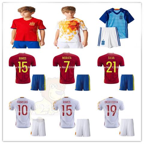Гаджет  2015/16 European Cup Spain kids Xavi ISCO The iniesta Fabregas David Villa Jersey 2016 spain soccer Youth / Children Ramos shirt None Спорт и развлечения