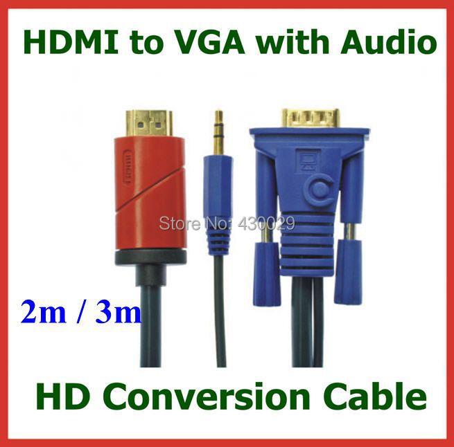HD Conversion Cable HDMI Male to VGA Male with 3.5mm Audio Cable HDMI to VGA Video Converter Cable 2M / 3M<br><br>Aliexpress