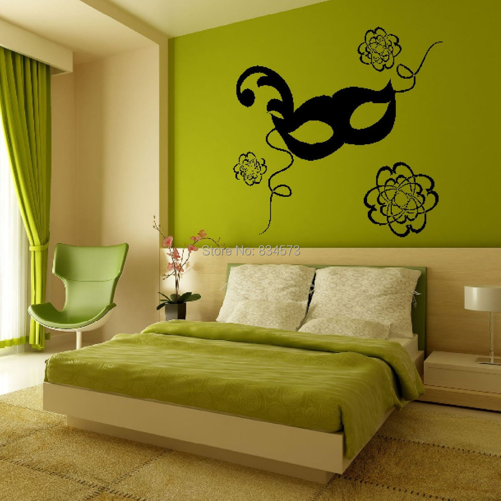 modern masquerade ball mask flower wall art sticker decal