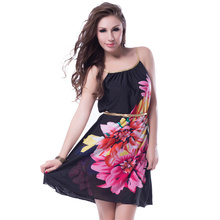 RE7971 Promotions Multi Flowers Ladies beach dress With belt 2016 new women dress fashion newest design strap summer dress(China (Mainland))