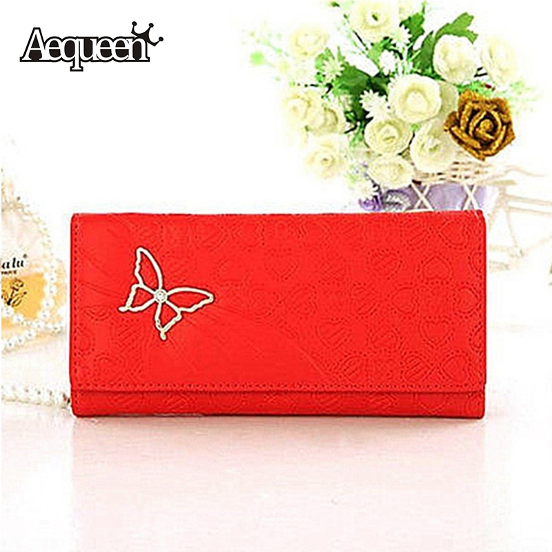 Women Long Wallet Butterfly Heart Printing Hight Quality Fashion Lady Wallets Change Bag Purse Handbag Valentines Gifts 4 Colors(China (Mainland))