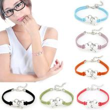 Stylish 1pcs 7 Color Womens Love Heart Handmade Alloy Rope Charm Jewelry Weave Bracelet Gift for girls accessories(China (Mainland))