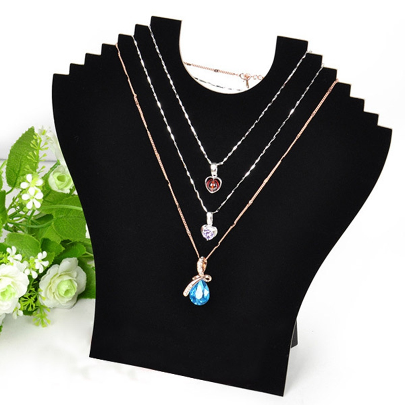 New Black Cardboard Jewelry Necklace Velvet Bust Show Display Stand Chain Jewellery Pendant Holder Easel(China (Mainland))