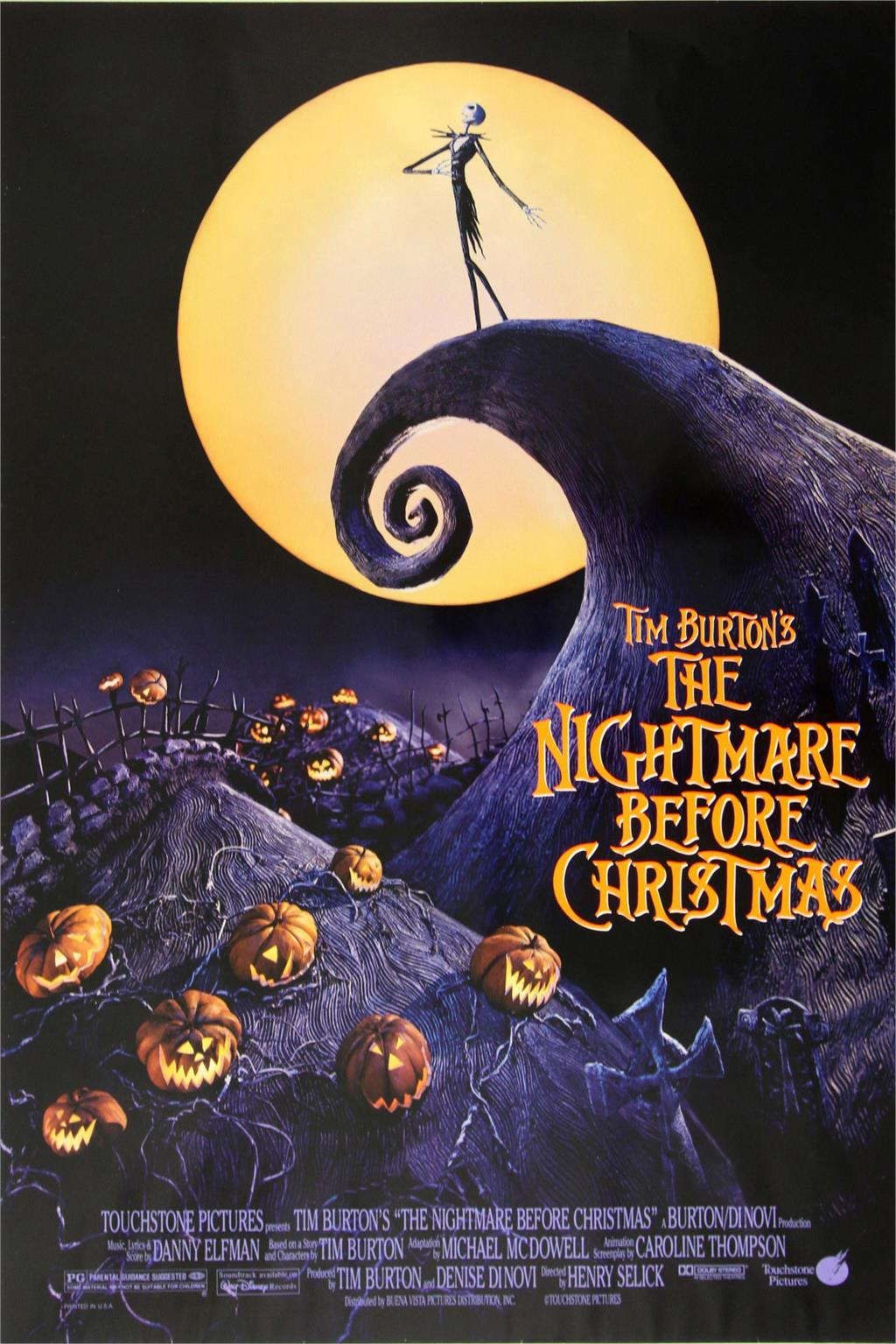 Tim Burton's The Nightmare Before Christmas Movie Classic Poster Home Decoration Art Silk -High quality Picture Print For Gift(China (Mainland))