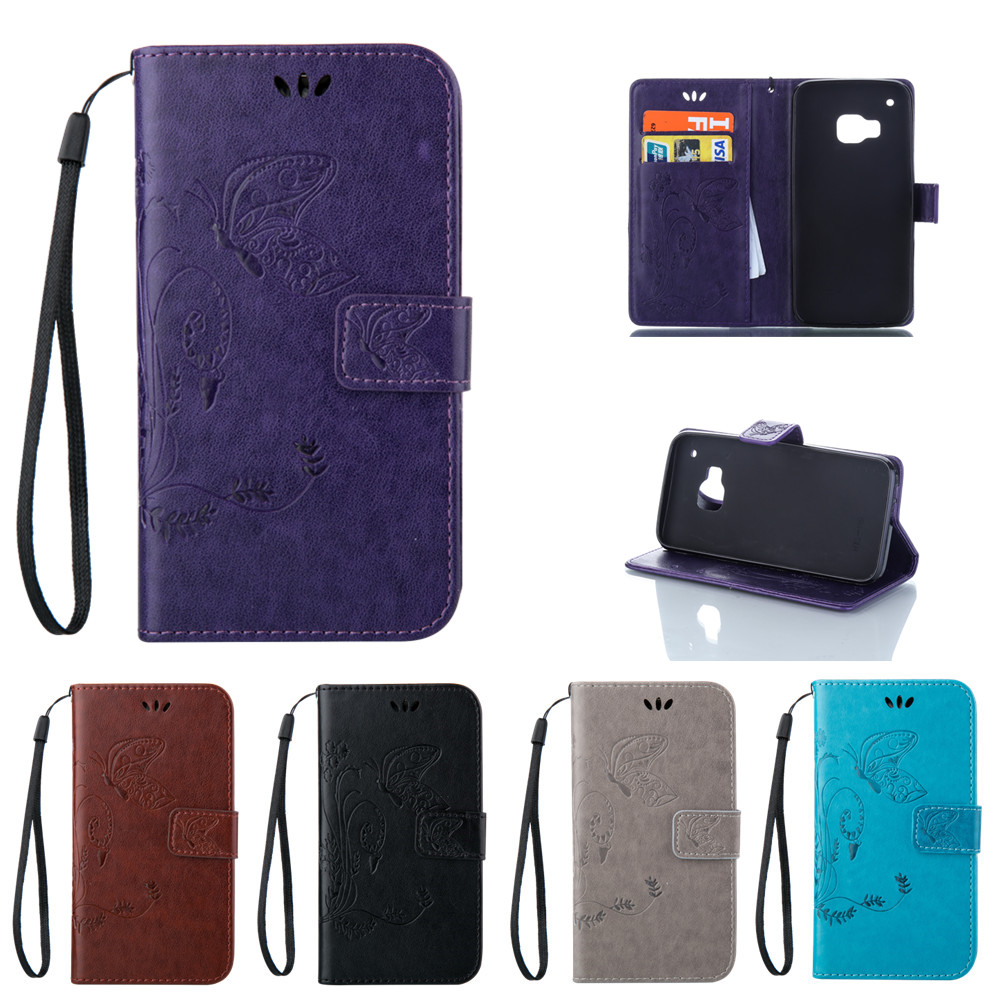 For HTC One3 M9 Solid Color Butterfly Leather Case Wallet Magnetic Flip Phone Cover For HTC One 3 M 9 M9t M9s M9e M9x M9d M9w(China (Mainland))