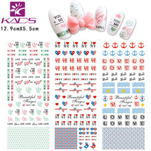 New 2015 Top Sell Cute Bows Sweet Hearts English Letters Water Transfer Nail Sticke Beauty Wraps Nail Art Decals for Decorations