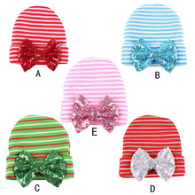 C3  Newborn Baby Sequin Bow Hats for Boys Girls Soft Baby Beanie Caps Toddler Baby Stripe Hospital Hat 0-3 Months Head Wear(China (Mainland))