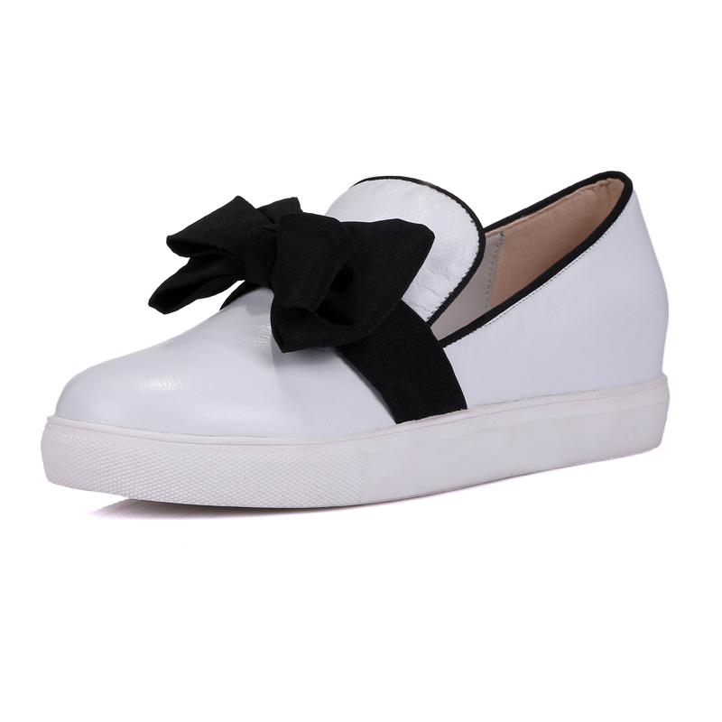 Woman Fashion Casual Shoes Genuine Leather High Quality Shoes with Bowtie Decoration<br><br>Aliexpress