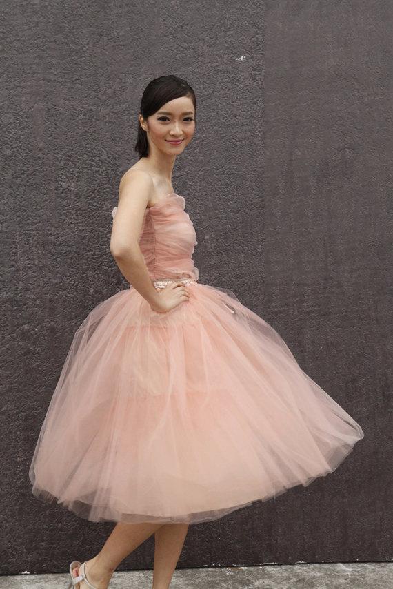 Tulle skirt tea length tutu skirt elastic waist tulle tutu for Tea length wedding dress tulle skirt