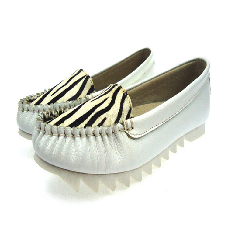 Fashion Casual Striped Element Shallow Mouth Single Shoes 2015 Round Head Genuine Leather Flower Leopard Print Flat Shoes(China (Mainland))