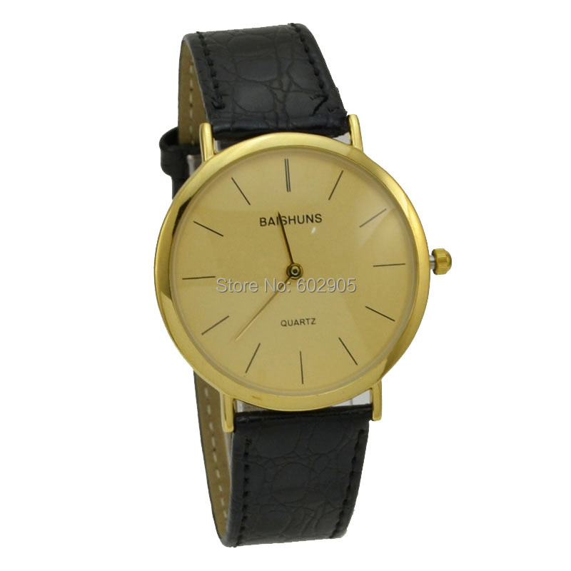 NEW Items Wholesale Fashion Gold Luxury Watches For Men Leather Watches Men Thin Case Quartz Watch Designer Black Watches(China (Mainland))