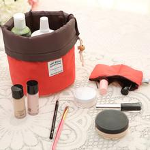 New Arrival Barrel Shaped Travel Cosmetic Bag Nylon High Capacity Drawstring Elegant Drum Wash Bags Makeup Organizer Storage Bag(China (Mainland))