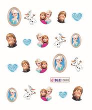 Cheap Nail 1 Sheet Cartoon Ice Snow Princess Nail Art Water Transfer Sticker Decal Sticker For