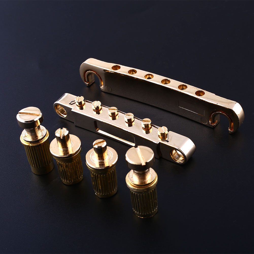 Gold Roller Saddle Tune-O-Matic Bridges Tailpiece Set For LP Les Guitar<br><br>Aliexpress