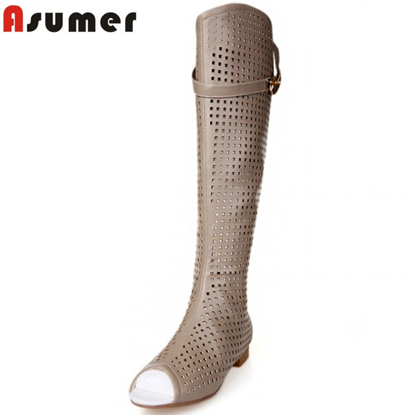 2016 new brand knee high boots sexy peep toe cut outs sandals summer boots soft leather zipper Gladiator motorcycle boots<br><br>Aliexpress