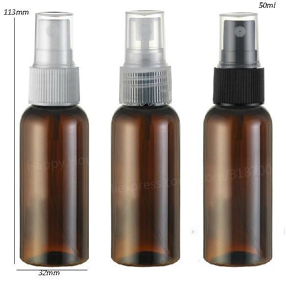 30 x 50ml New Fashion Amber Brown Travel Plastic Perfume Bottle 50cc Mist Sprayer Plastic Atomizer 1oz Mini Fragrance container(China (Mainland))