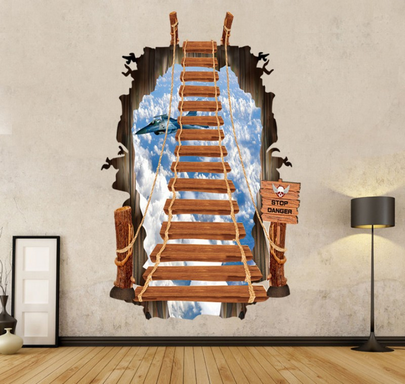 wall poster 2015 3D stairs personality fashion creative wall stickers Ladder sky plane printing Wall Stickers JL-3986(China (Mainland))