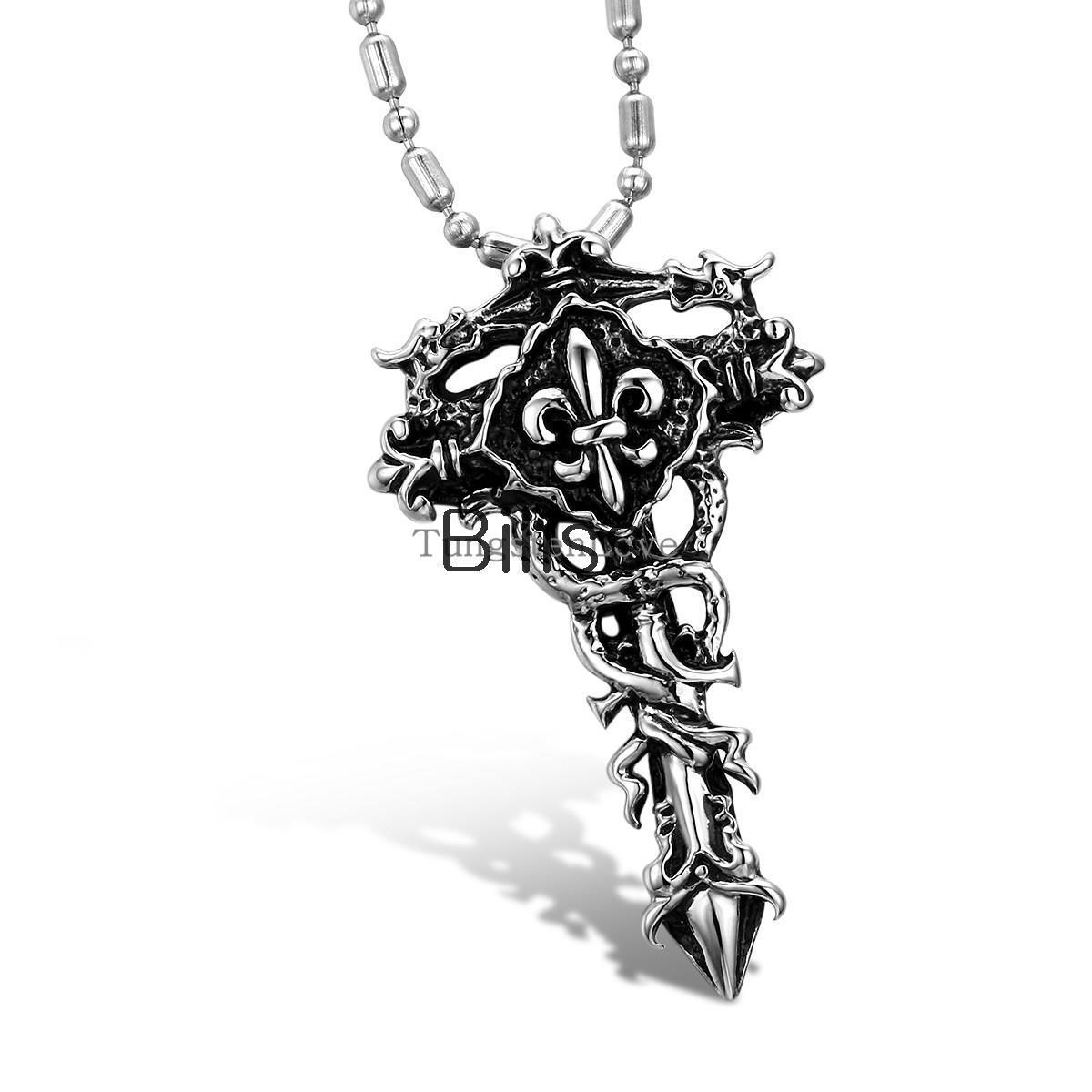 """Biliss Antique Style Stainless Steel Fleur De Lis Cross Pendant Necklace for Men 22"""" Chain Punk necklace Mens Easter days Gift(China (Mainland))"""