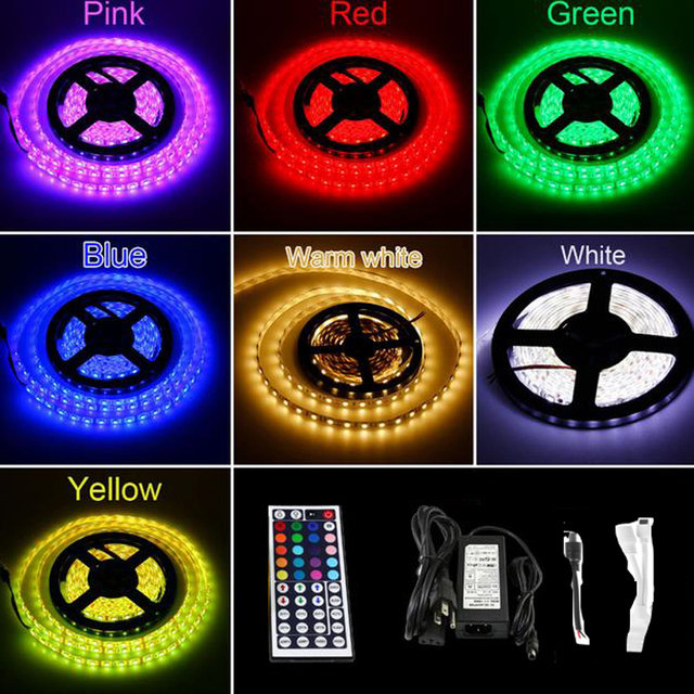 5050 RGB LED Strip Waterproof SMD 5M/roll 300 leds Flexible Light + 44key IR Remote + 6A Power Adapter For Home Decoration
