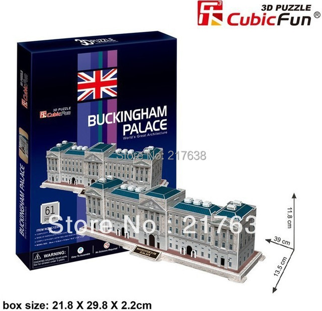 3D puzzle BUCKINGHAM PALACE building model middle size ,  educational DIY toys, free shipping.