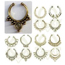 Nouvelle arrivée! Rétro bronze faux septum / titane médicale faux nez anneau / argent corps boucles pour femmes Piercings + 2 Clip boucles(China (Mainland))
