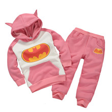 2016 autumn and winter new boys and girls hoodie + trousers with Batman style 2 pcs sets for children clothing black, pink(China (Mainland))