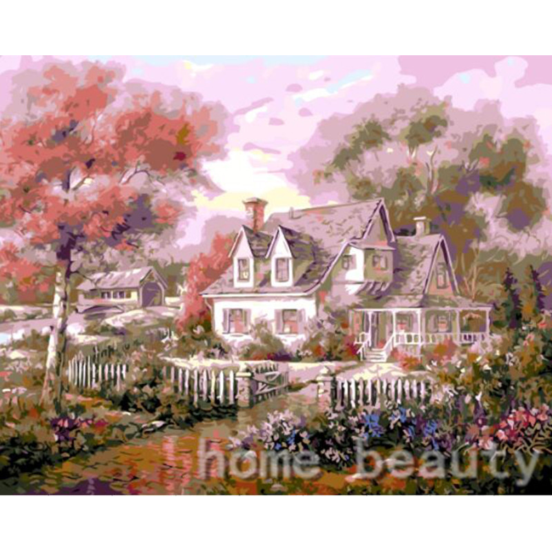 New home decor pictures on canvas diy oil painting by numbers drawing nodular pictures one the wall art flower house E394(China (Mainland))