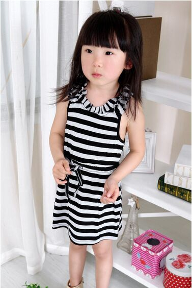 2015 Korean new style children kids girl's cute cotton (>95%)material striped casual lolita A-line sleeveless dress.Art NO.C0011(China (Mainland))