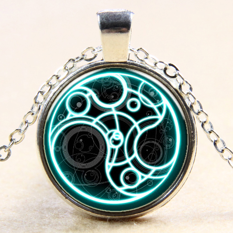 Steampunk UK drama dr doctor who blue line time lord Necklace 1pcs/lot bronze / silver Glass Pendant jewelry chain XL084(China (Mainland))