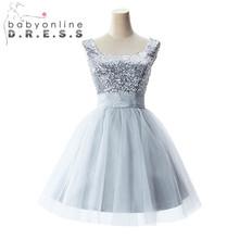 2015 elegante senza maniche grigio sequins breve ritorno a casa abiti mini prom abiti per festa di nozze(China (Mainland))