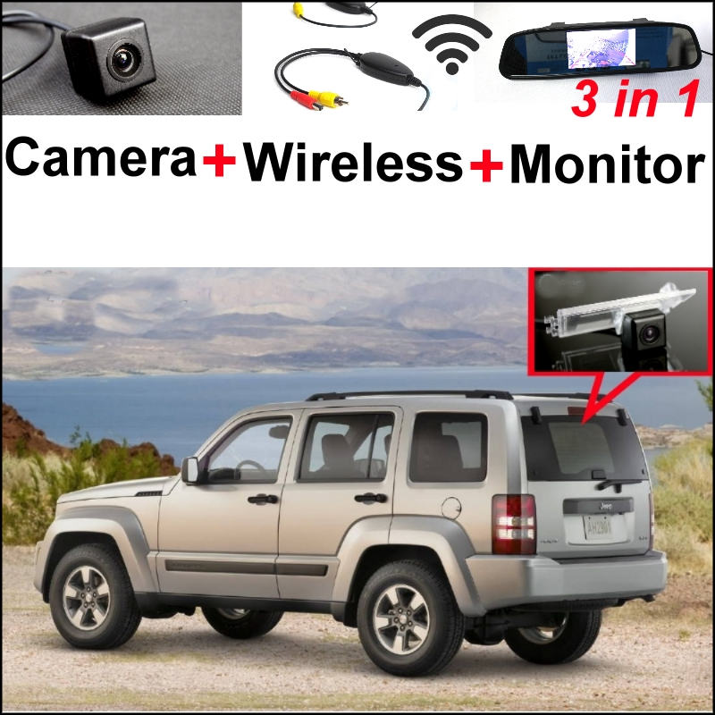 Wireless Receiver + Mirror Monitor EASY DIY Parking System Jeep Patriot Liberty 2007~2015 3 in1 Special Rear View Camera - GrandTour Store store