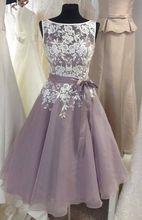 Short Bridesmaid Dresses 2017 Scoop Sleeveless V-Back Tea-length Tulle Top Lace Wedding Party Gowns 2016 Bridesmaids Dress(China (Mainland))