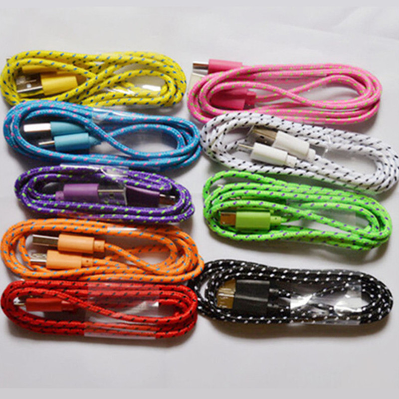 New 3ft/1M Durable Braided Micro USB Cable Coiled Charger Data Sync Cable Cord For Samsung Galaxy Cell phones 9 Colors Available(China (Mainland))