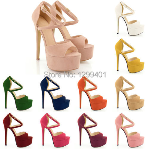 2014 OPEN TOE STRAPPY PLATFORM FAUX SUEDE THIN HIGH HEELS SANDAL SHOES 14CM