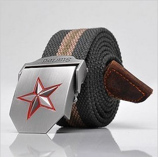 FREE SHIPPING canvas belt Men three-dimensional red star casual strap canvas belt fashion belt