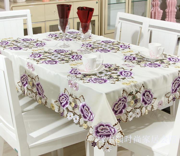 Hot Embroidered Table Cloths Elegant Polyester Satin Floral Embroidery Tablecloth Peony Table Cloth Cover Overlays Home YYM8993(China (Mainland))