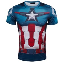 NEW TOP 2015 Summer Comics Marvel The Avenger 2 Ultron Captain America t-shirt costume 3d Jersey Sport fitness t shirt men