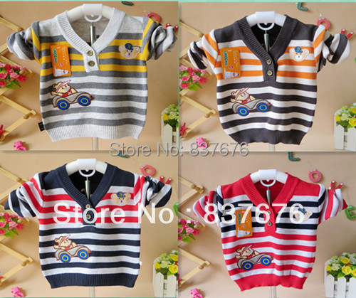 Clearance Baby Boys 100%Cotton Sweater Pullover Bear Car Cartoon High Quality Bottoming Sweater 3-18months old boys(China (Mainland))
