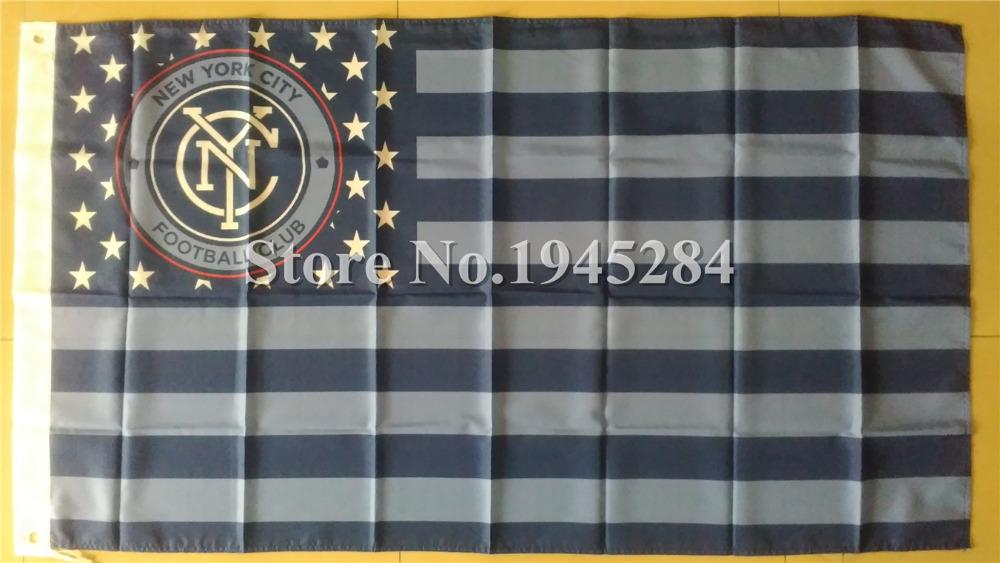 New York City Football Club Flag USA Soccer MLS Flag New 3x5ft 90X150cm Polyester Flag Banner, free shipping(China (Mainland))