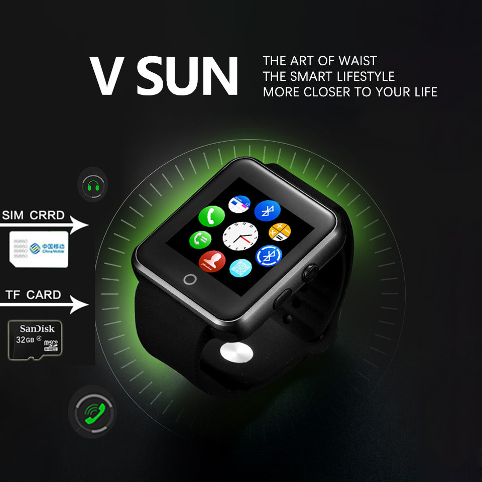 Smart Watch wrist band Bracelet V1 Vsun for Android Network Function Bluetooth Push Message Pedometer Facebook free shipping(China (Mainland))