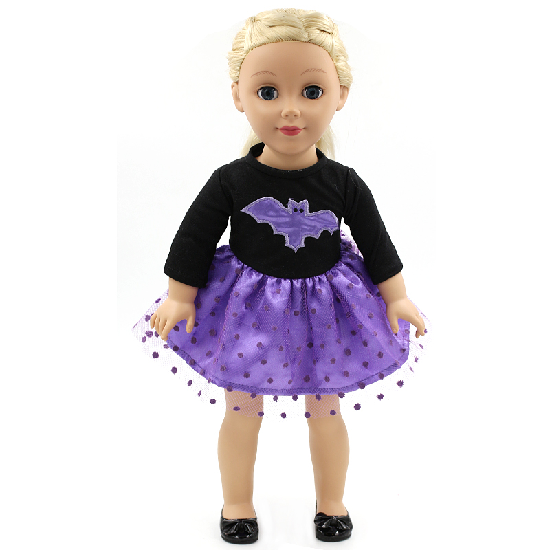 18 Inches American Girl Bat Patch Skirt Clothes Play House Accessories For Little Girl Doll Dress Handmade Birthday gift.MG-183(China (Mainland))