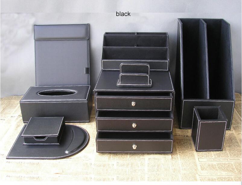Buy 9pcs set office leather desk - Leather desk organizer set ...