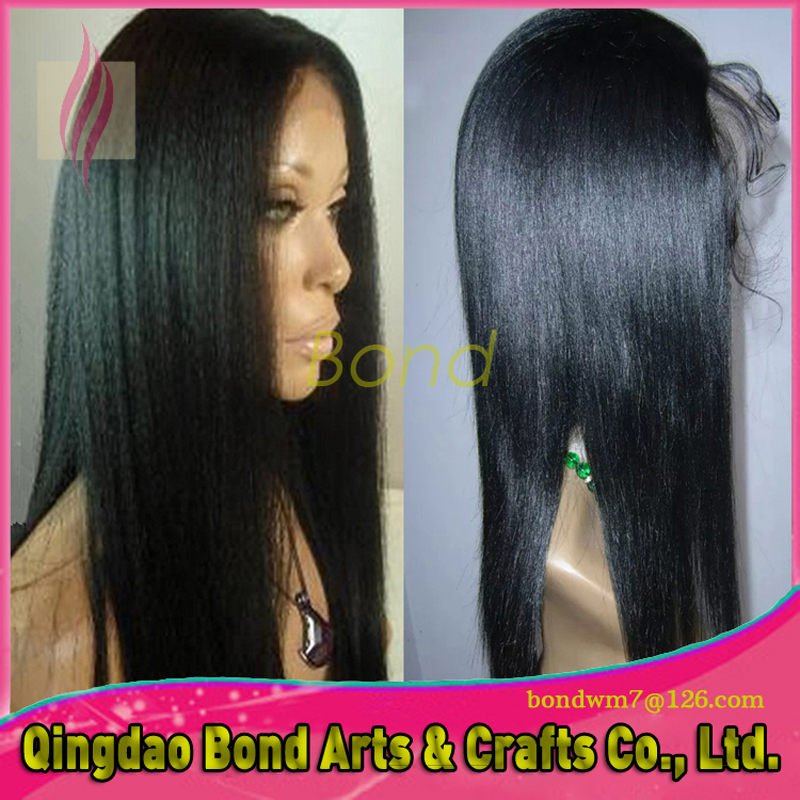 Фотография Cheap Yaki Straight Lace Wigs for African American Glueless Brazilian hair straight Lace Front Wigs For Black Women