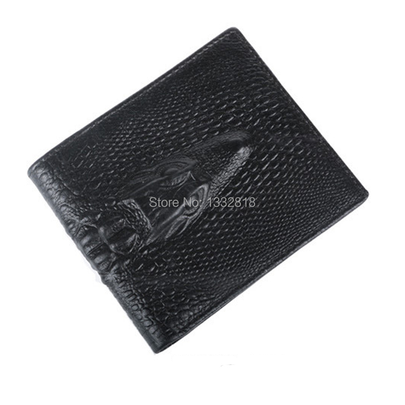 2015 wallet men fashion genuine leather crocodile bag purse new fashion leather wallet short section man casual card holder(China (Mainland))