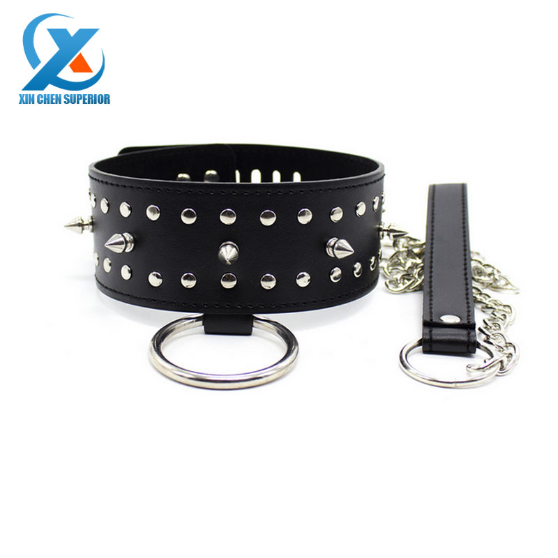 Luxury Leather Rivets Spike Adult Slave Collar Leash Sex Neck Ring with Lock for Women Men Adults Game Toys Novelty for Sex Game(China (Mainland))