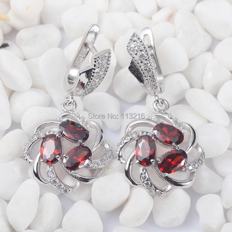 Pretty Lady Red Cubic Zirconia 925 sterling Silver Ethnic Earrings S-3735 Romantic Style Women Jewelry Gift Engagement Wedding - shunxunze Watch & store