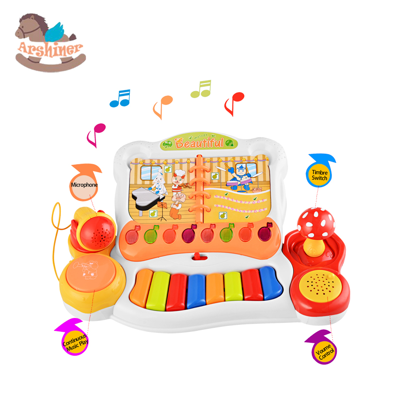 Arshiner Children Multifunctional Mini Musical Keyboard Play Piano With Microphone Educational Electone for Kids Beginners(China (Mainland))