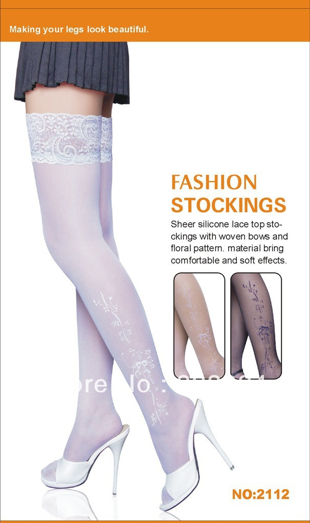 new 2013 3color 3pc/lots Sheer silicone lace top stockings woven bows floral pattern.comfortable soft - ZKIND WORLD store