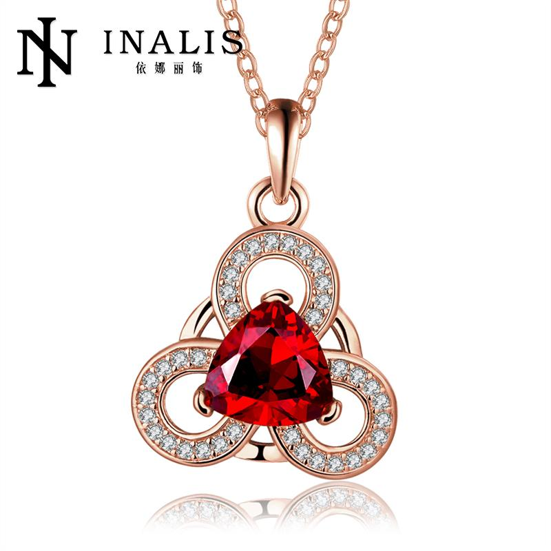 18K/Rose Gold/Platinum Plated Elegant Plant Copper Pendant Necklaces Women Chain Antiallergic Necklace(China (Mainland))